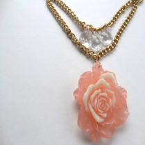 handmade rose necklace on gold chain